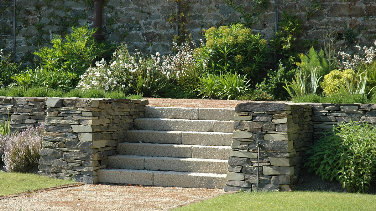 Steps in a country courtyard garden