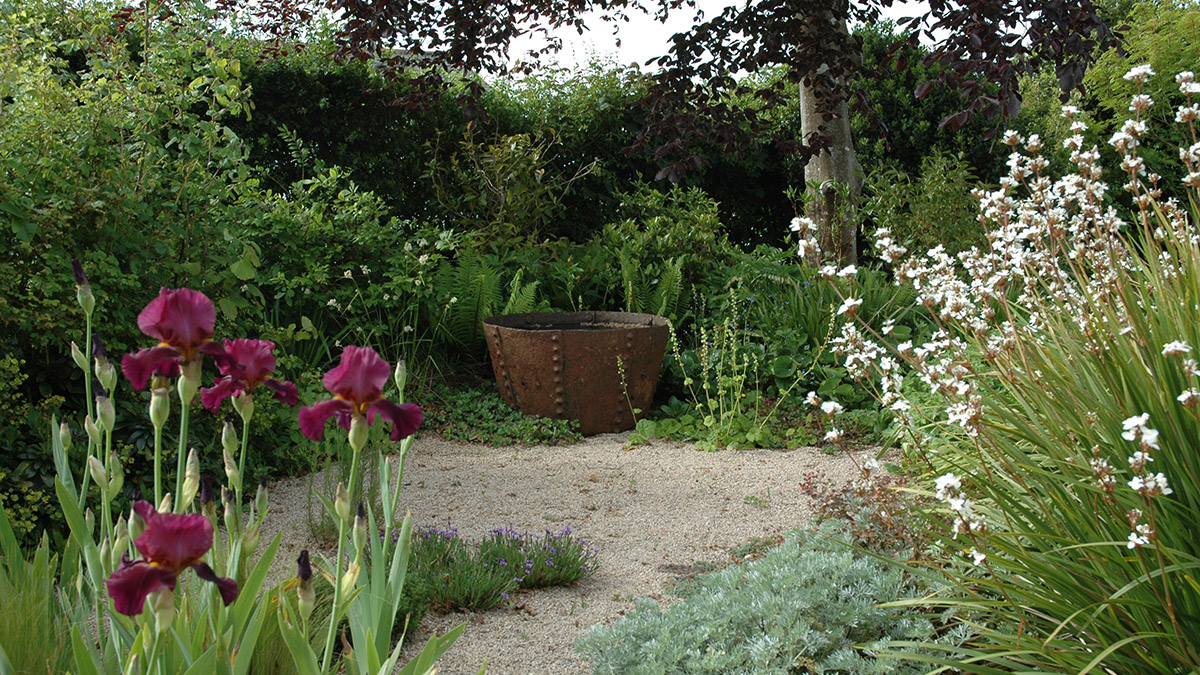 A water trough amongst planting and gravel in a garden