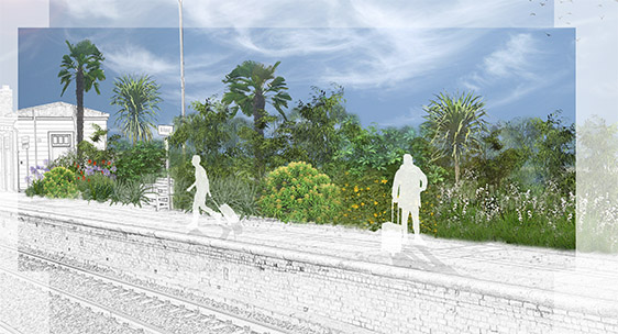 Visualisation of planting proposal for a train station