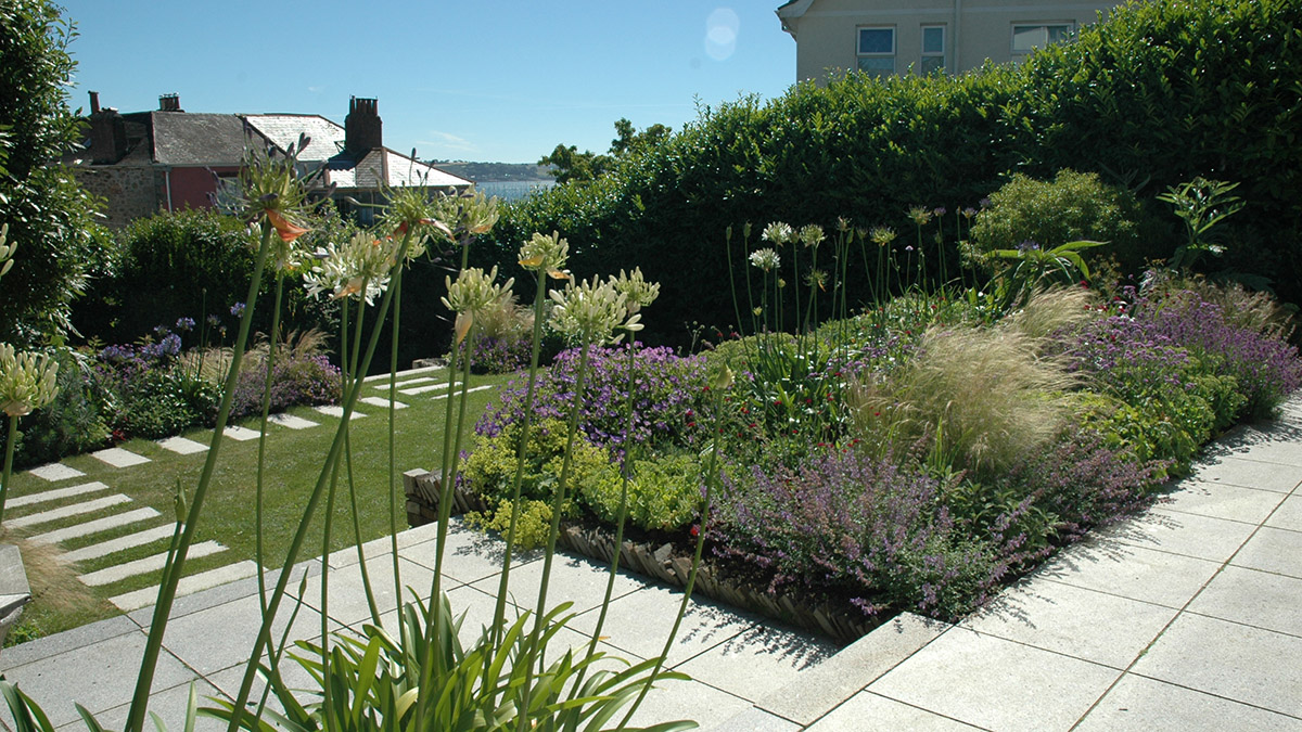 Herbaceous border and garden terrace